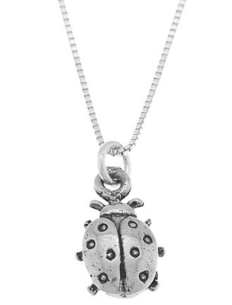 STERLING SILVER LUCKY LADYBUG / LADY BUG CHARM WITH 16 inch BOX CHAIN NECKLACE