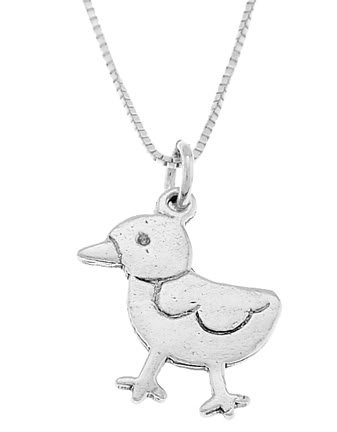 STERLING SILVER EASTER CHICK / DUCK CHARM WITH 16 inch BOX CHAIN NECKLACE