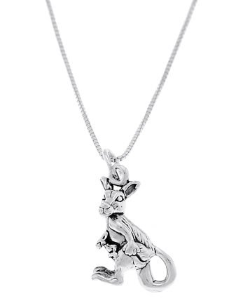 STERLING SILVER KANGAROO WITH JOEY IN POCKET CHARM WITH 16 inch BOX CHAIN NECKLACE