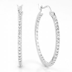 STERLING SILVER CZ 27MM INSIDE OUT ROUND HOOP EARRINGS