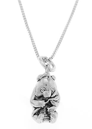 STERLING SILVER PANDA BEAR EATING BAMBOO LEAF CHARM WITH 16 inch BOX CHAIN NECKLACE