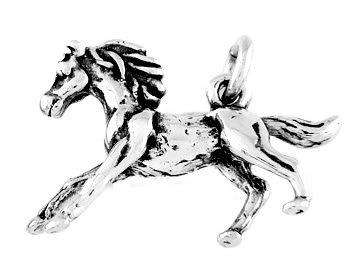 STERLING SILVER GALLOPING PONY BABY HORSE CHARM/PENDANT