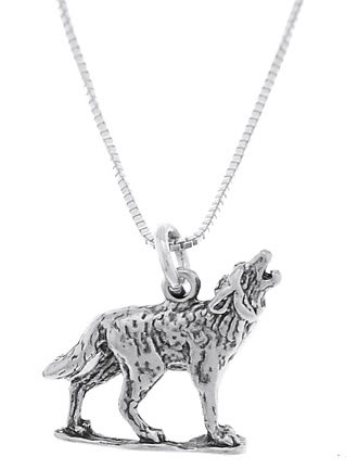 STERLING SILVER WOLF / COYOTE HOWLING AT THE MOON CHARM WITH 16 inch BOX CHAIN NECKLACE