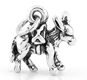 STERLING SILVER DONKEY 3D CHARM/PENDANT