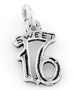STERLING SILVER SWEET 16 CHARM/PENDANT