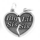 SILVER SHAREABLE BIG SIS LIL SIS HEART CHARM/PENDANT
