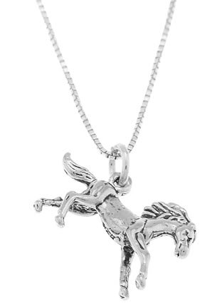 STERLING SILVER BABY PONY /GALLOPING HORSE CHARM WITH 16 inch BOX CHAIN NECKLACE