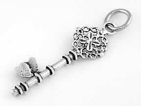 STERLING SILVER KEY OF HEARTS OF LOVE CHARM