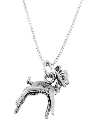 STERLING SILVER BABY DEER / FAWN CHARM WITH 16 inch BOX CHAIN NECKLACE