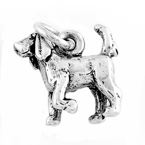 STERLING SILVER BLOODHOUND DOG CHARM/PENDANT