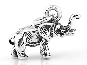 STERLING SILVER LUCKY BABY ELEPHANT 3D CHARM