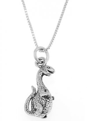 STERLING SILVER DINOSAUR / DINO CHARM WITH 16 inch BOX CHAIN NECKLACE
