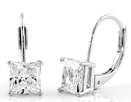 STERLING SILVER CZ PRINCESS CUT LEVERBACK EARRINGS 6MM