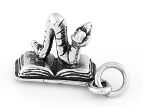 STERLING SILVER 3D OPEN BOOK & BOOKWORM CHARM/PENDANT