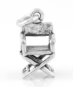 STERLING SILVER 3D DIRECTOR'S CHAIR CHARM/PENDANT