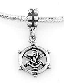 STERLING SILVER DANGLE CAPTAIN'S WHEEL W/ ANCHOR EUROPEAN BEAD