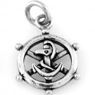 STERLING SILVER CAPTAIN WHEEL WITH ANCHOR CHARM/PENDANT