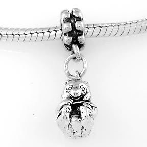STERLING SILVER DANGLE PANDA BEAR EATING BAMBOO EUROPEAN BEAD