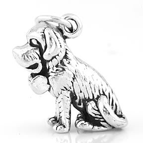 STERLING SILVER BEETHOVEN STYLE ST. BERNARD CHARM/PENDANT