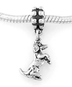 STERLING SILVER DANGLE DACHSHUND ON BACK LEGS EUROPEAN BEAD