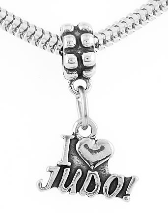 STERLING SILVER DANGLING I LOVE JUDO EUROPEAN BEAD