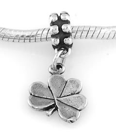 STERLING SILVER DANGLING LUCKY SHAMROCK EUROPEAN BEAD