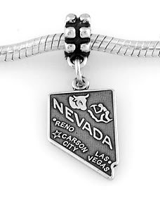 STERLING SILVER DANGLING STATE OF NEVADA EUROPEAN BEAD