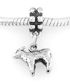 STERLING SILVER DANGLING SHEEP/ LAMB EUROPEAN BEAD