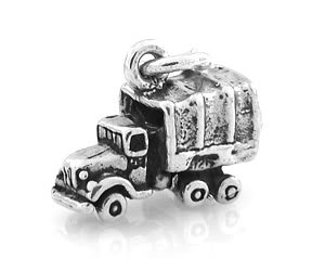 STERLING SILVER SMALL MILITARY CARGO TRUCK CHARM