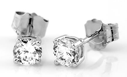 STERLING SILVER CZ Cubic Zirconia 5MM Round Cut Solitaire Earrings