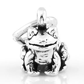 STERLING SILVER BULLFROG / FROG / TOAD CHARM/PENDANT