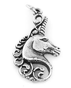 STERLING SILVER MYSTICAL UNICORN HEAD CHARM/PENDANT