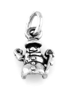 "STERLING SILVER SMALL SNOWMAN CHARM WITH 16"" BOX CHAIN"