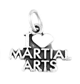 """STERLING SILVER I LOVE MARTIAL ARTS CHARM WITH 16"""" BOX CHAIN"""