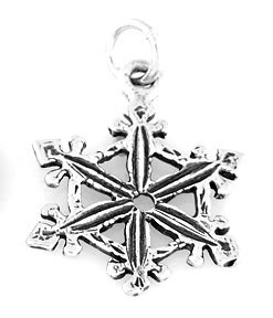 "STERLING SILVER LOVELY SNOWFLAKE CHARM W/ 16"" BOX CHAIN"
