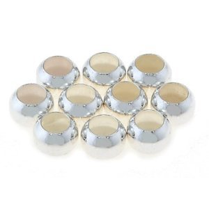 STERLING SILVER 1 Pack (10 Pieces) of 6mm Big Hole Plain Spacer