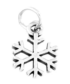 "STERLING SILVER WINTER SNOWFLAKE CHARM W/ 16"" BOX CHAIN"