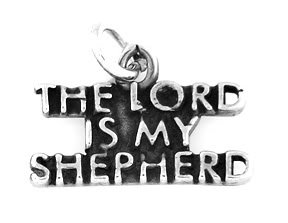 "STERLING SILVER THE LORD IS MY SHEPHERD CHARM WITH 16"" BOX CHAIN"