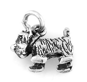 "STERLING SILVER SCOTTISH TERRIER DOG CHARM WITH 16"" BOX CHAIN"