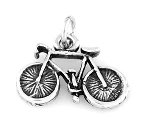 """STERLING SILVER BICYCLE CHARM WITH 16"""" BOX CHAIN"""