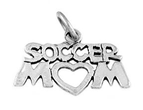 """STERLING SILVER SOCCER MOM CHARM WITH 16"""" BOX CHAIN"""