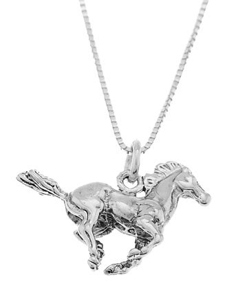 STERLING SILVER RUNNING MUSTANG STALLION HORSE CHARM WITH 16 inch BOX CHAIN NECKLACE