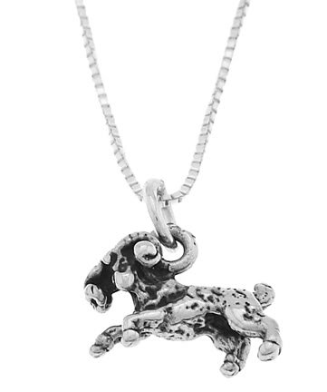 STERLING SILVER RAM BODY CHARM WITH 16 inch BOX CHAIN NECKLACE