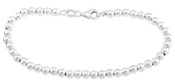 STERLING SILVER 4MM BALL/ BEAD BRACELET