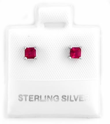 STERLING SILVER JULY BIRTHSTONE CZ CHILD POST EARRINGS 3mm