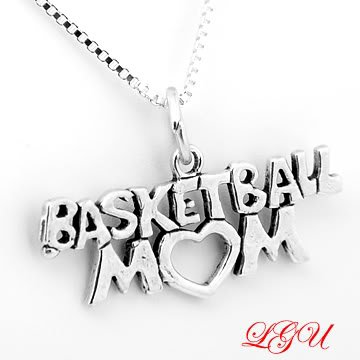 "STERLING SILVER BASKETBALL MOM CHARM WITH 16"" BOX CHAIN NECKLACE"