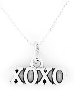"""STERLING SILVER XOXO HUGS & KISSES CHARM WITH 16"""" BOX CHAIN"""