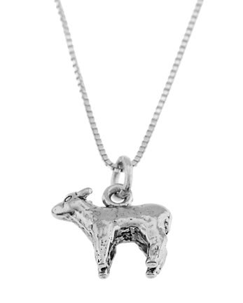 STERLING SILVER SHEEP / LAMB CHARM WITH 16 inch BOX CHAIN NECKLACE