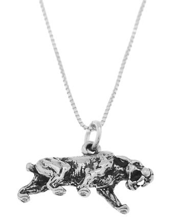 STERLING SILVER SABER TOOTH TIGER CHARM WITH 16 inch BOX CHAIN NECKLACE