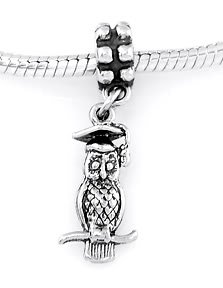 STERLING SILVER DANGLE GRADUATION OWL W/ HAT EUROPEAN BEAD